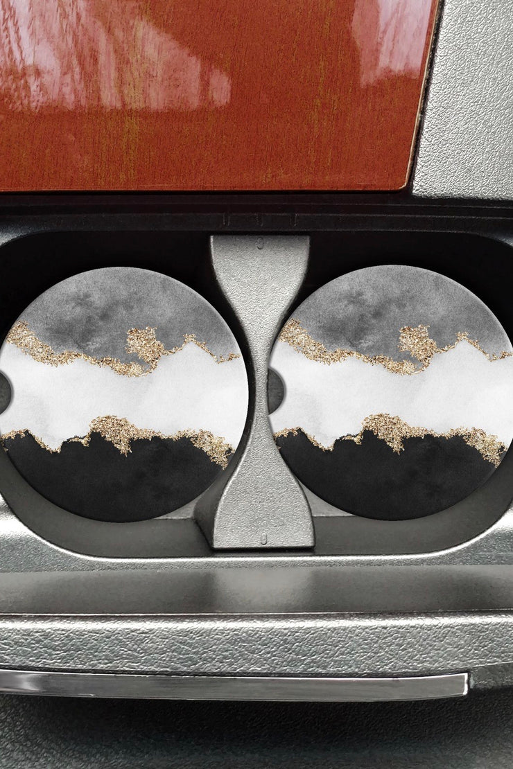 Light of the Moon (Black/Grey) - Car Coaster - Set of 2