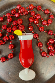 Hurricane Cocktail - Mardi Gras Necklace