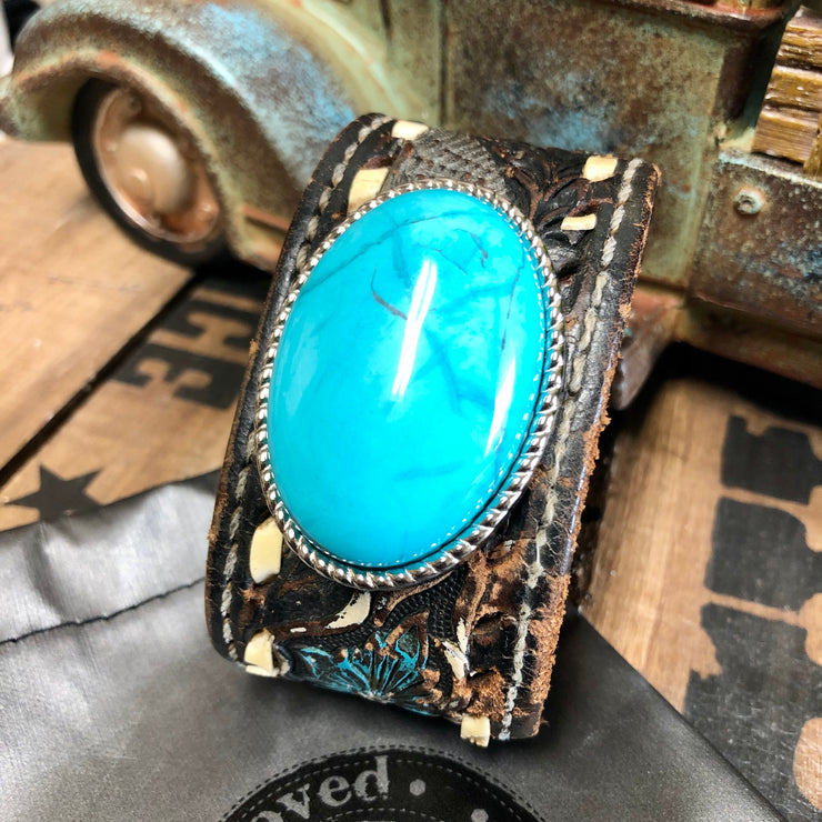 Sedona - Leather Cuff Bracelet - Real Turquoise