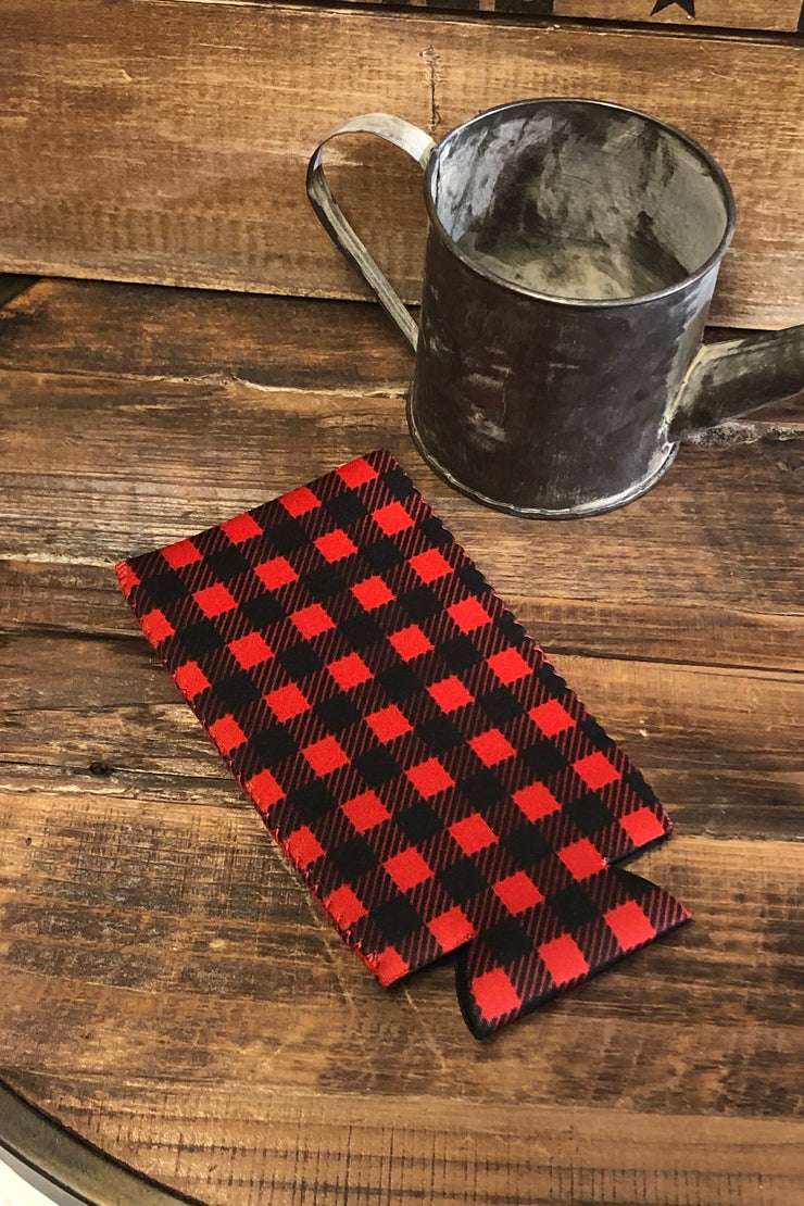 Slim Can Cooler - Red Buffalo Plaid