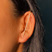 Ear Climber - Rhinestone Bar - Gold