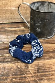 Navy Blue Bandana - Hair Scrunchie