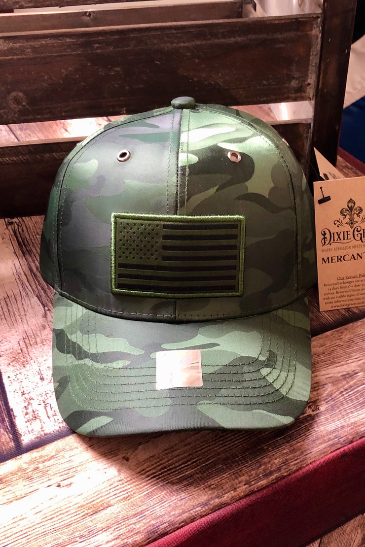 Hat - American Flag - Satin/Dry Fit - Green Camo - $10 S4S Donation