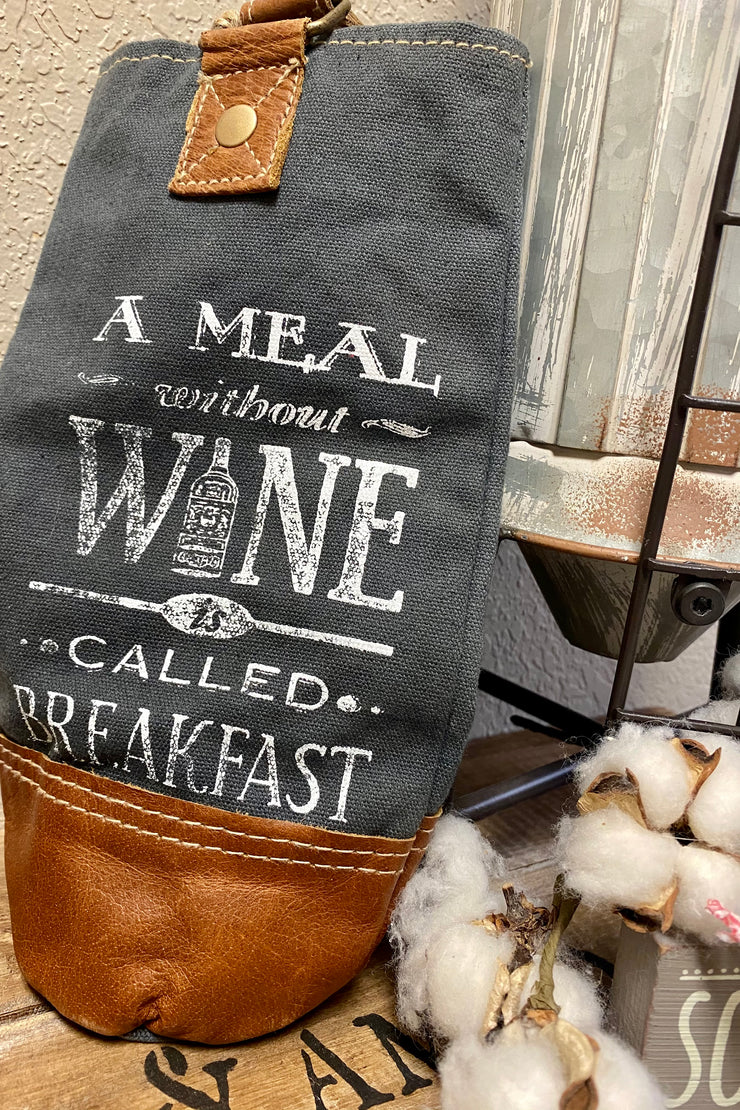 A Meal Without Wine - Canvas and Leather Wine Bag