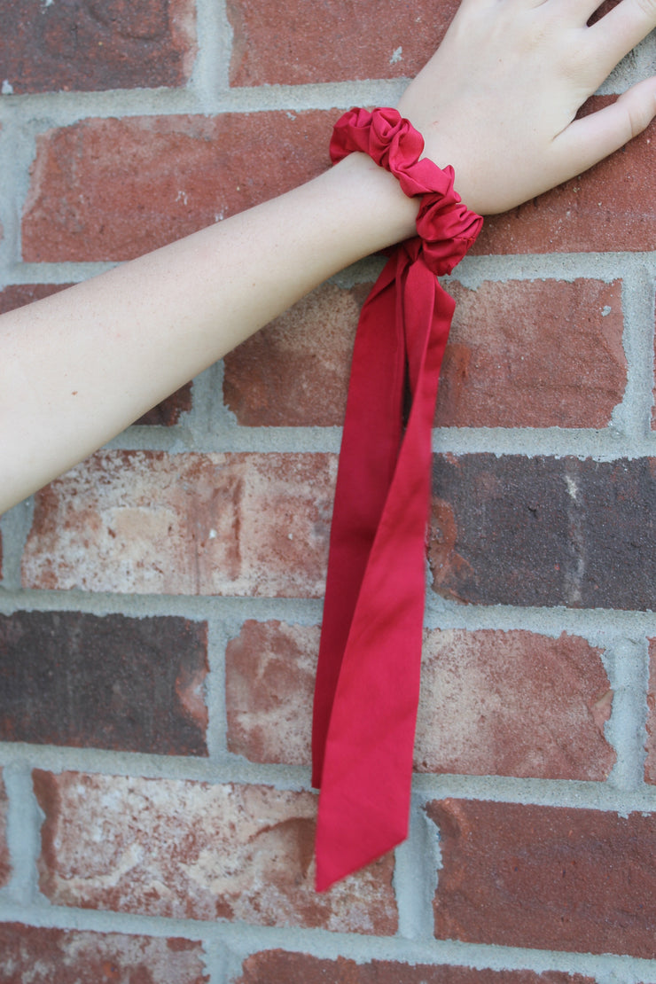 Hair Scarf Scrunchie - Brick Red - Solid