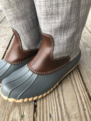 Good Girl - Tall Duck Boots - Gray w/ Brown Faux Leather