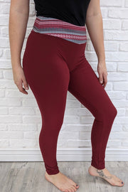 Leggings - Burgundy w/ Christmas Aztec Yoga Band - Full Length