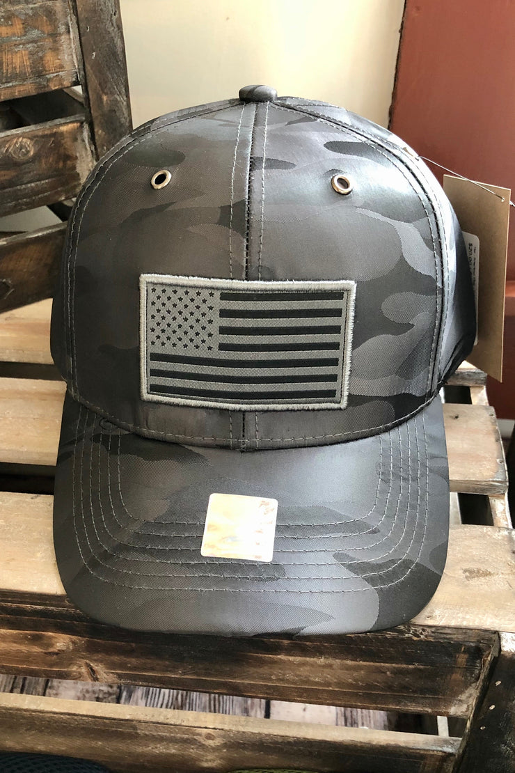Hat - American Flag - Satin/Dry Fit - Charcoal Camo - $10 S4S Donation