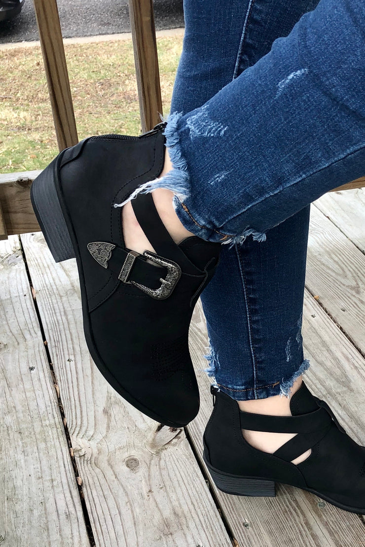 Midnight in Montgomery - Suede Booties - Black w/ Silver Buckle