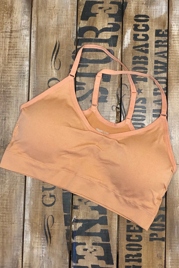 Walk Like A Camel - Cross Back Half Cami Bralette - Camel