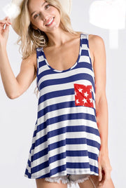 Americana - Tank - Dark Navy Blue w/ Red Star Pocket