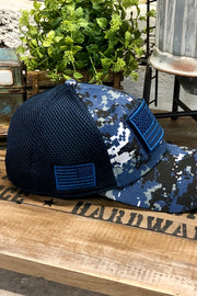 Hat - US Flag - Micro Mesh - Blue/Navy Camo - $12 S4S Donation
