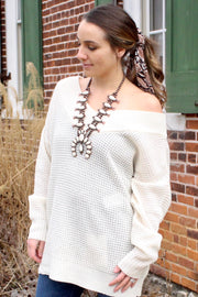 Fall to Pieces - Long Sleeve V-Neck Off Shoulder Sweater - Cream