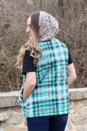 Campfire Chills - Quilted Lined Vest w/ Hood - Turquoise Plaid