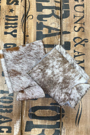 Can Cooler - Tan And White Cow Hide