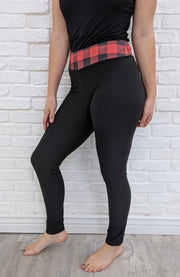 Leggings - Buffalo Plaid Yoga Band - Full Length