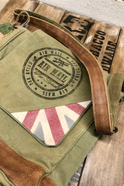 Red Stripe Air Mail - Canvas Flap Crossbody Bag