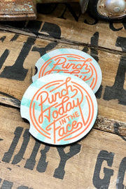 Punch Today In The Face - Car Coaster - Set of 2