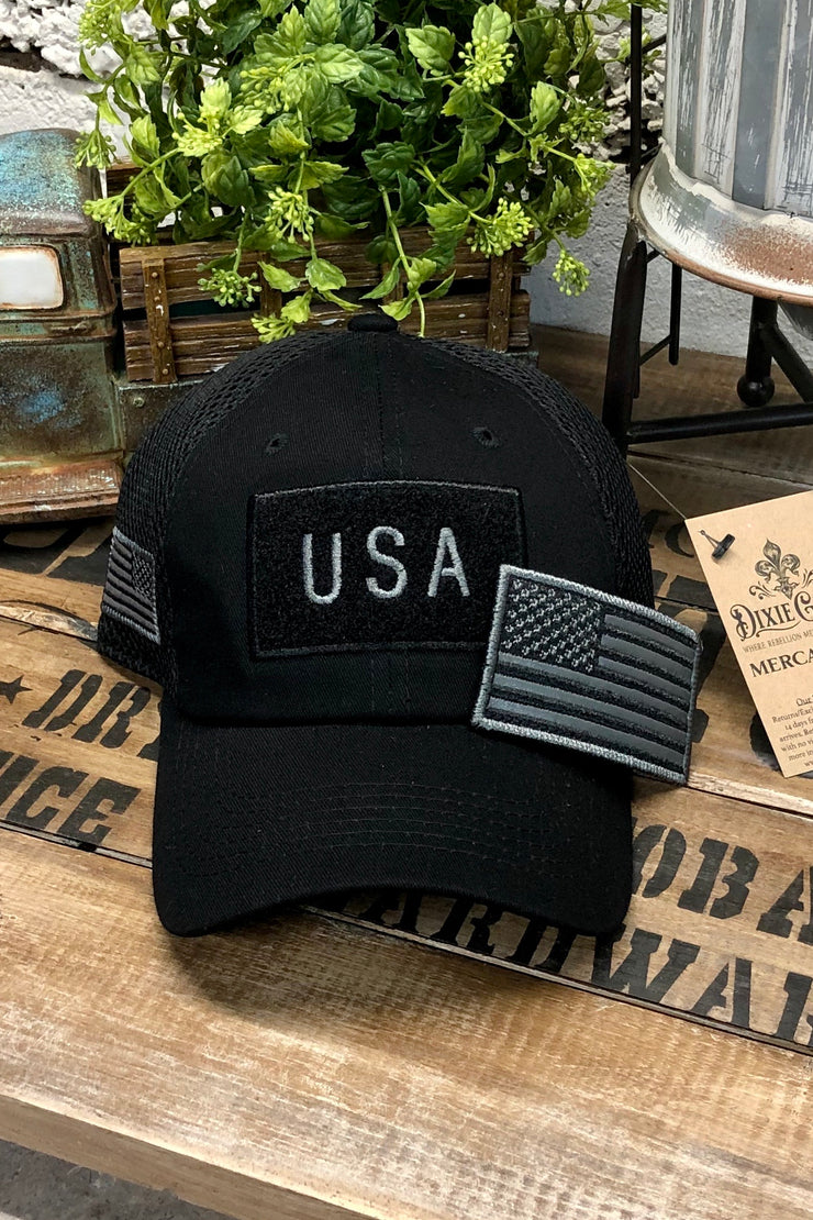 Hat - US Flag - Micro Mesh - Black - $12 S4S Donation