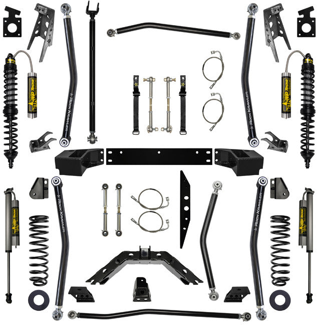 2.5 Inch Long Arm Lift Kit W/Remote Reservoir Coil Over Shocks Stg 2 07-Pres Wrangler JKU Rock Krawler