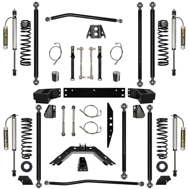 2.5 Inch Lift Kit W/Remote Reservoir Shocks Off-Road Pro Long Arm System Stg 2 07-Pres Wrangler JK 2 Dr Rock Krawler