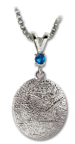 Keepsake - Thumbie Standard Charm - .925 Sterling Silver w/single birthstone and chain