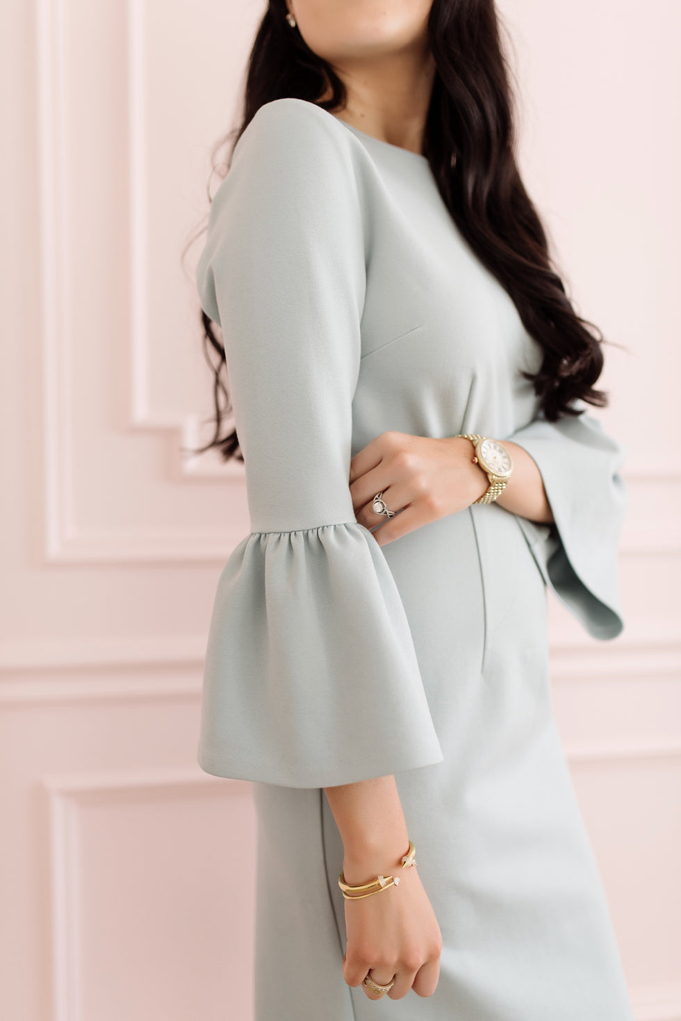 blue-bell-sleeve-dress - 1