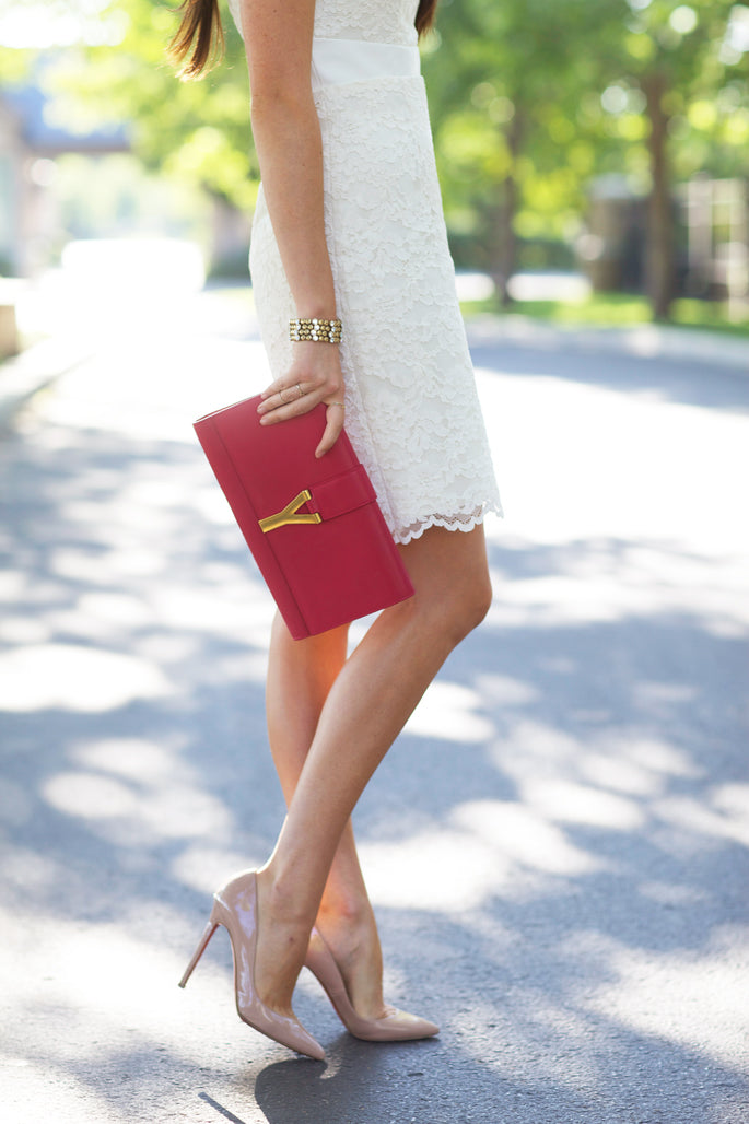 White Lace Dress with Clutch