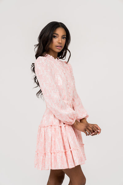 Belted Fit and Flare Dress - Pink Mini Floral Dress Rachel Parcell, Inc.
