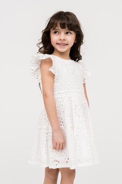 Eyelet Fit and Flare Dress - Ivory Cloud Girls Rachel Parcell, Inc.