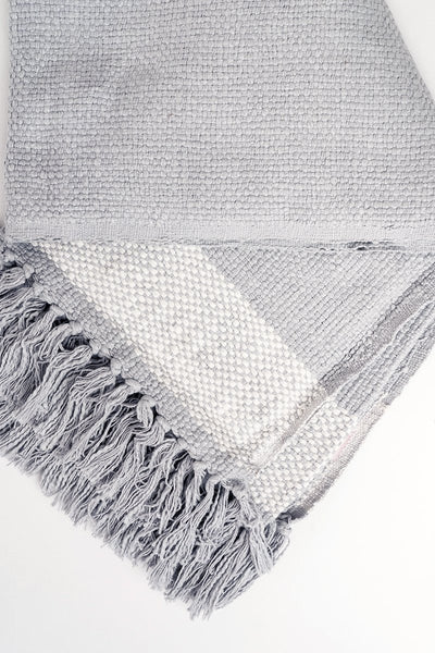 Fringe Woven Throw - Blue Grey Blankets and Throws Rachel Parcell, Inc.
