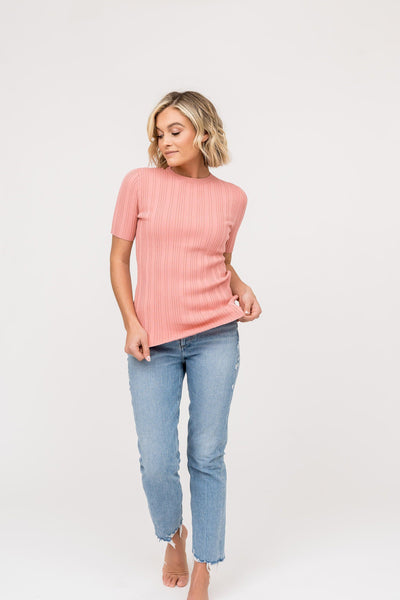 Ribbed Crew Neck Top - Coral Pink Tops Rachel Parcell, Inc.