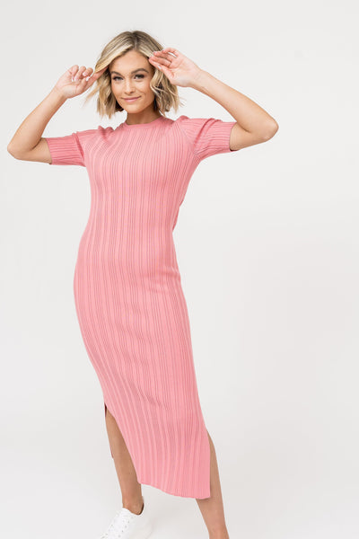 Ribbed Knit Pencil Dress - Coral Pink Dress Rachel Parcell, Inc.