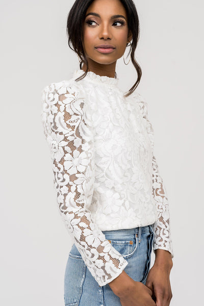 Ruffle Neck Lace Top - Ivory Tops Rachel Parcell, Inc.