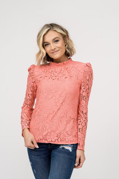 Ruffle Neck Lace Top - Pink Tops Rachel Parcell, Inc.