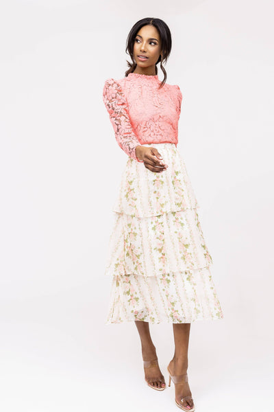 Tiered Chiffon Midi Skirt - Pink Floral Stripe Skirts Rachel Parcell, Inc.