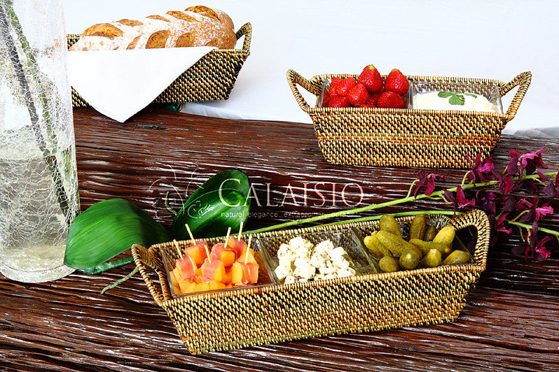 Rectangular Tray with Three Glass Dishes