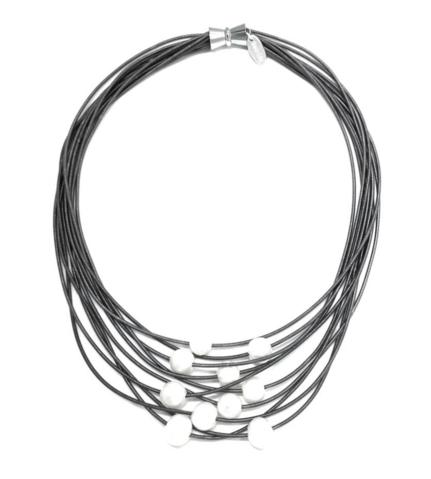 10 layer piano wire with freshwater pearls necklace