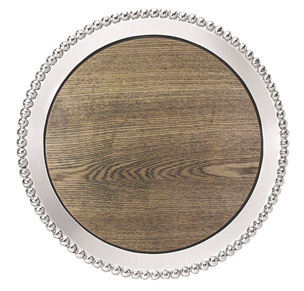 Pearled Round Tray with Driftwood Insert