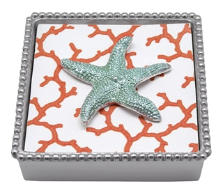 Aqua Strafish beaded napkin Box