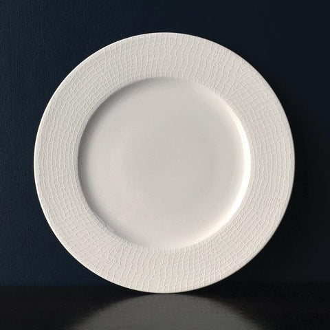 "Cambridge Stripe White 14"" Rim Oval Platter Monogrammed"