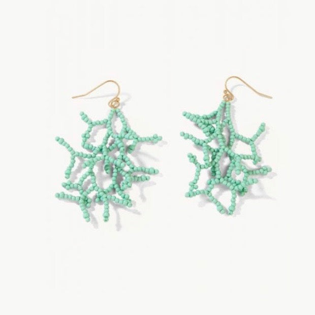 Beaded Coral Earrings Sea Foam