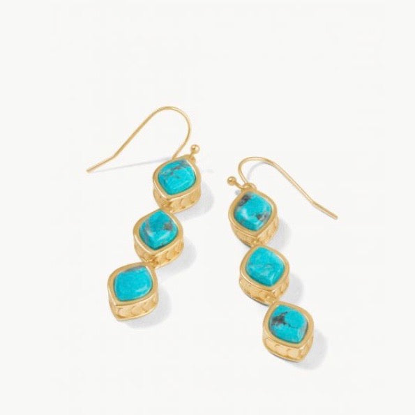 Naia Linear Drop Earrings Turquoise