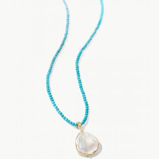 "Coin Pearl Bitty Necklace 18"" Turquoise"