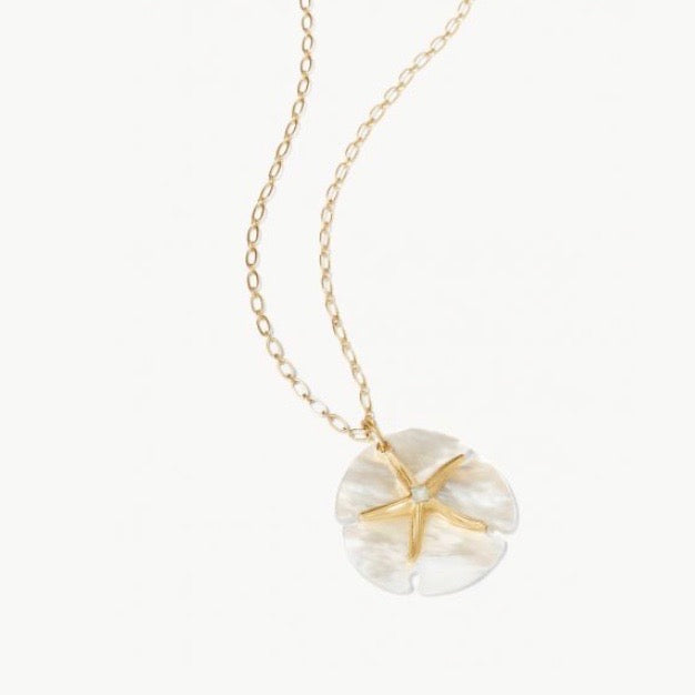 "Star Sand Dollar Necklace 32"" Pearlscent"