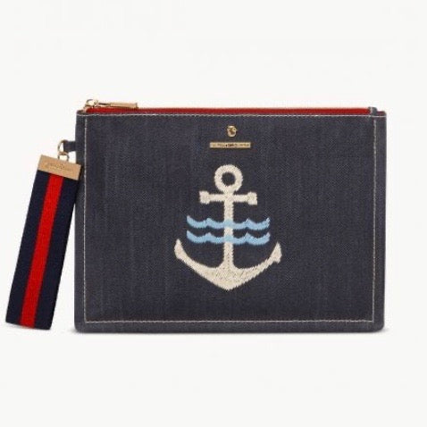 Flat Wristlet Denim Anchor