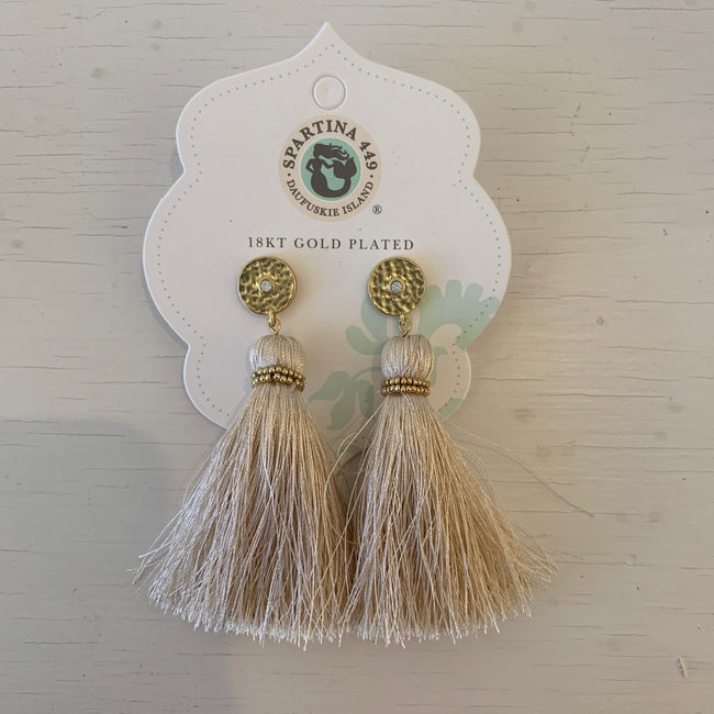 Old Field Tassel Earrings Taupe