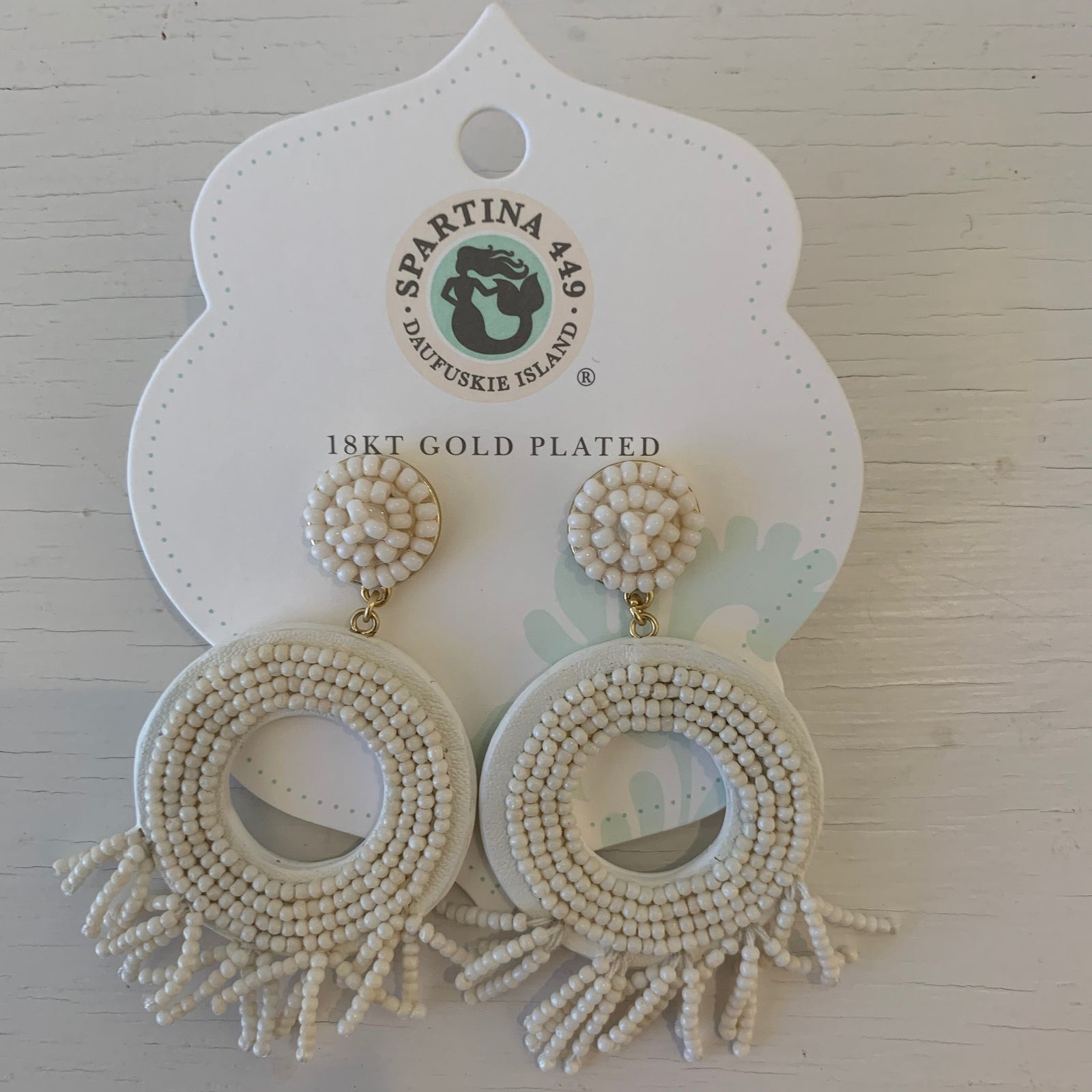 Beaded Ring Tassel Earrings Taupe