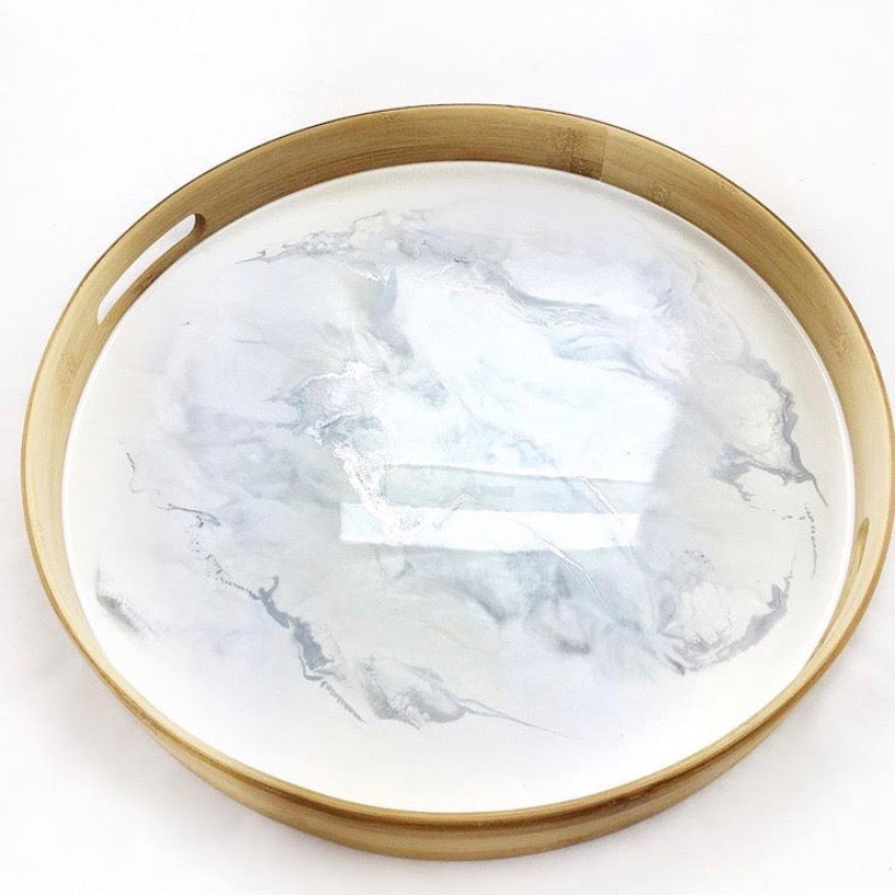Round Tray Resin (white/gold)