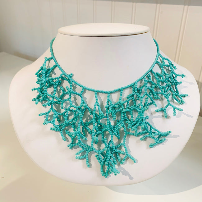 "Beaded Coral Necklace 16"" Seafoam"